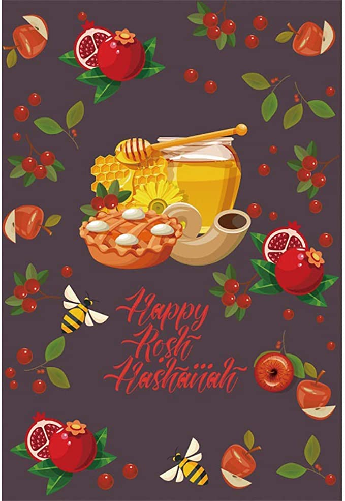 SZZWY 7x5ft Rosh Hashanah Backdrop Jewish New Year Party Photography Background The Feast of Trumpets Celebration Decor Autumn Harvest Wheat Pomegranate Apple Honey Jewish Holiday Photos