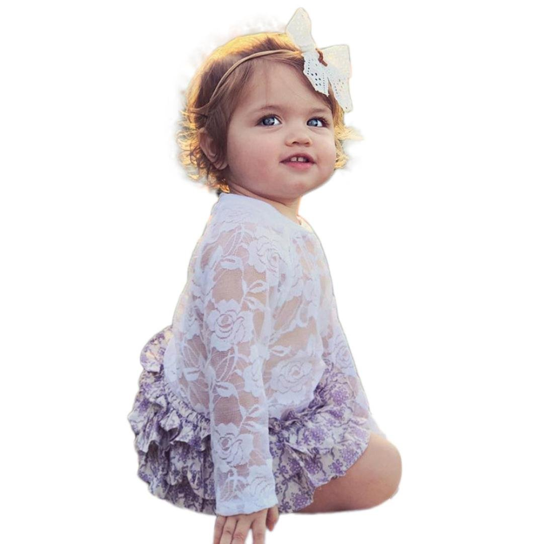 Fineser Infant Baby Girls Tulle Lace Peter Pan Collar Long Sleeve Ropmer Jumpsuit Playsuit Outfits
