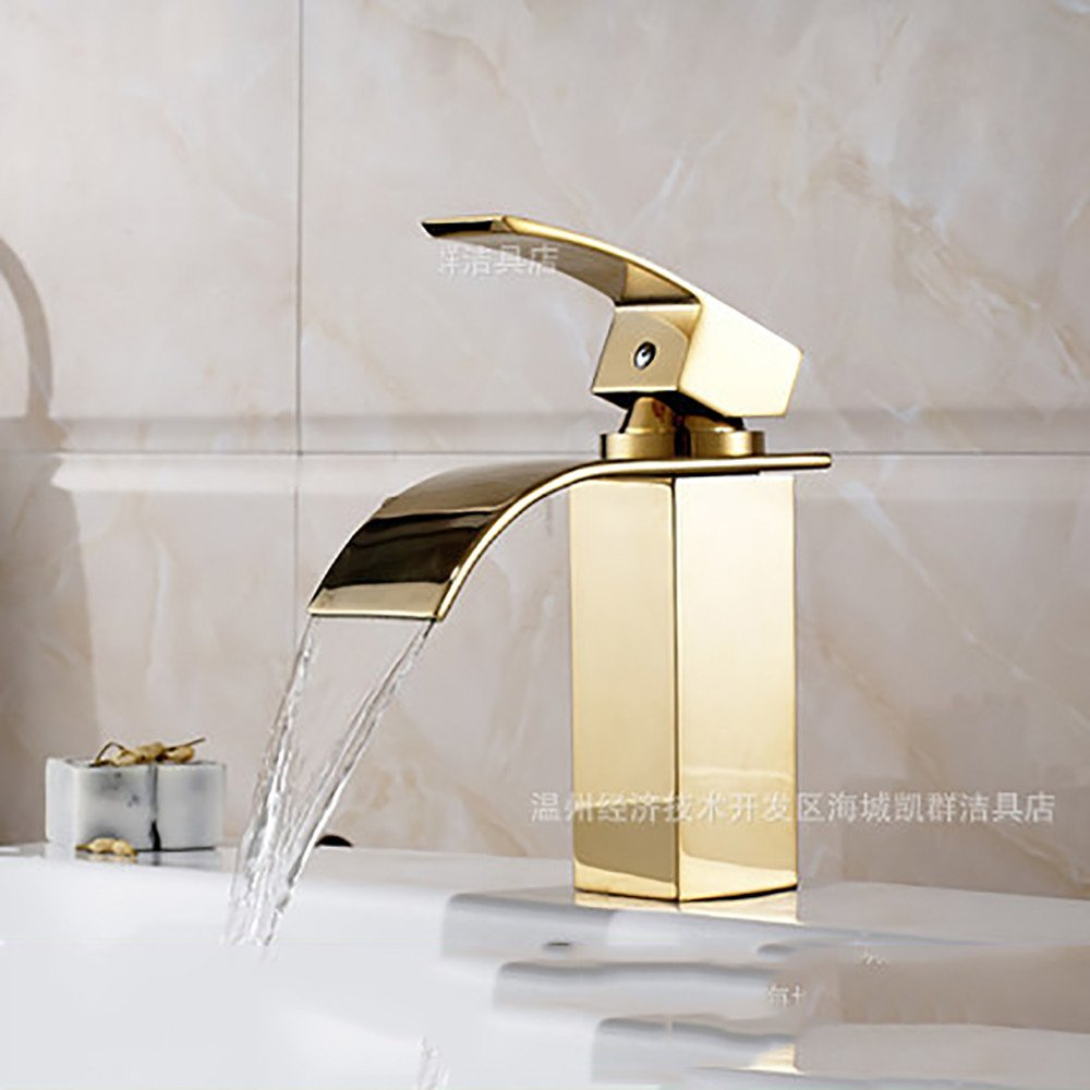 Low Hlluya Professional Sink Mixer Tap Kitchen Faucet All copper waterfall single hole wide mouth hot and cold basin, High