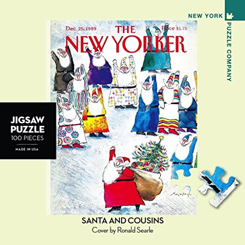 New York Puzzle Company - New Yorker Santa and Cousins Mini - 100 Piece Jigsaw Puzzle