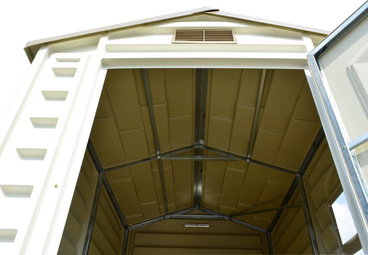 Duramax Premier Series - Cobertizo de almacenamiento de vinilo con suelo de plástico y ventana fija - 122 x 183 cm: Amazon.es: Jardín