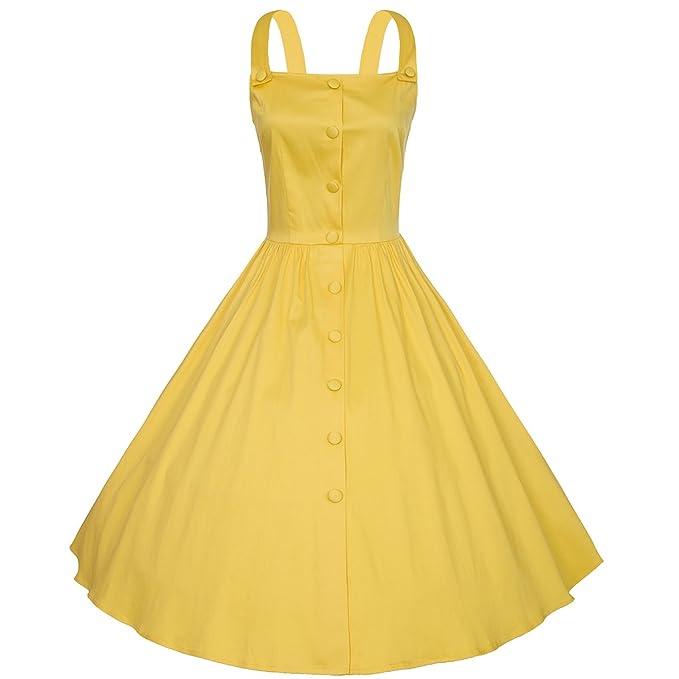 VOGTORY Women\'s Vintage Plus Size Summer Floral Print Strap Dress Beach  Slip Dress,Braces Dress
