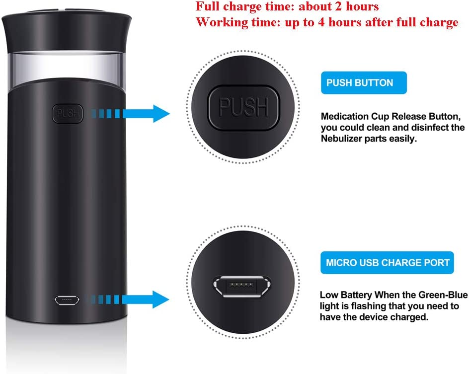 PChero Mini Handheld Rechargeable Personal Steam Inhaler Humidifier Machine with USB Charger for Kids Adults for Both Indoor and Outdoor Use