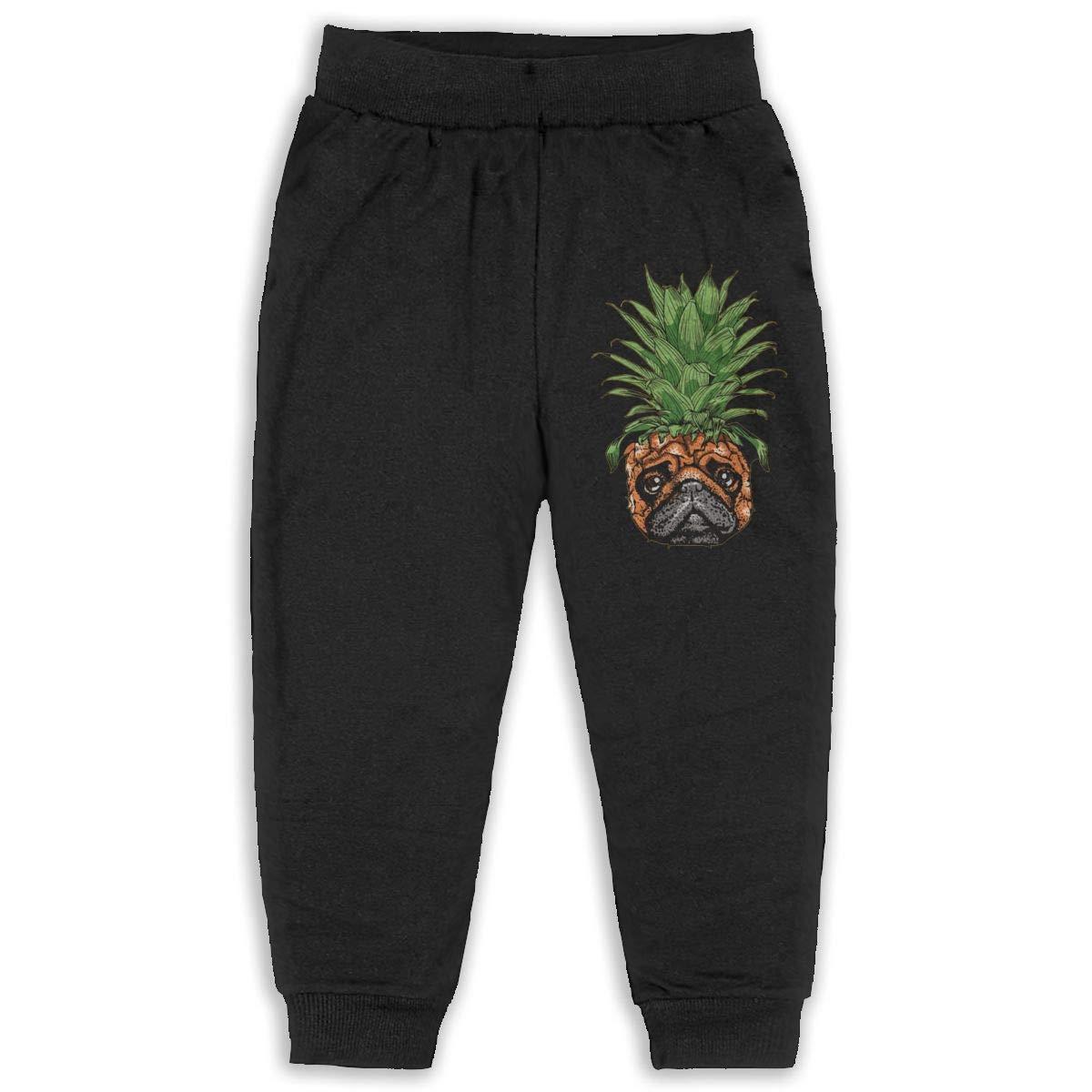 Fleece Active Joggers Elastic Pants DaXi1 Pineapple Pug Sweatpants for Boys /& Girls