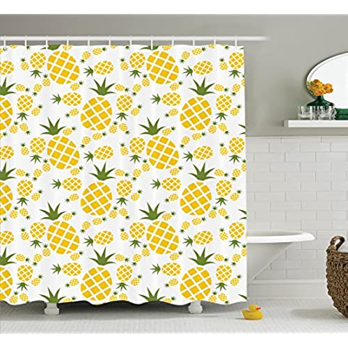 Ambesonne Pineapple Decor Collection, Pineapple Pictogram Decorative  Vintage Pattern Farm Vibrant Color Artwork, Polyester Fabric Bathroom  Shower Curtain ...