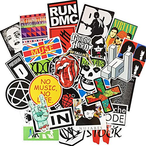(Beyong Rock and Roll Stickers for Laptop, Guitar Bass Drum Skateboard Bicycle Motorcycle Car Bumper Vinyls Stickers and Decals (Rock Sticker 50Pcs))