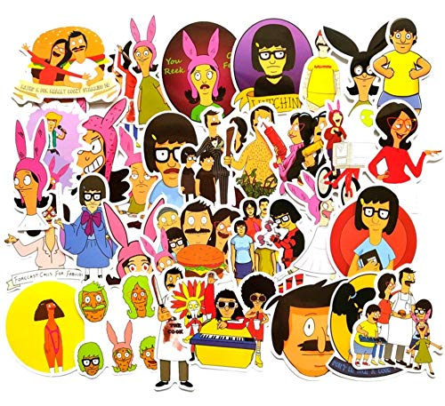 34 pcs Bob's Burger Sticker tv Show Creative DIY Stickers Funny Decorative Cartoon for Waterbottle Cartoon PC Luggage Computer Notebook Phone Home Wall Garden Window Snowboard