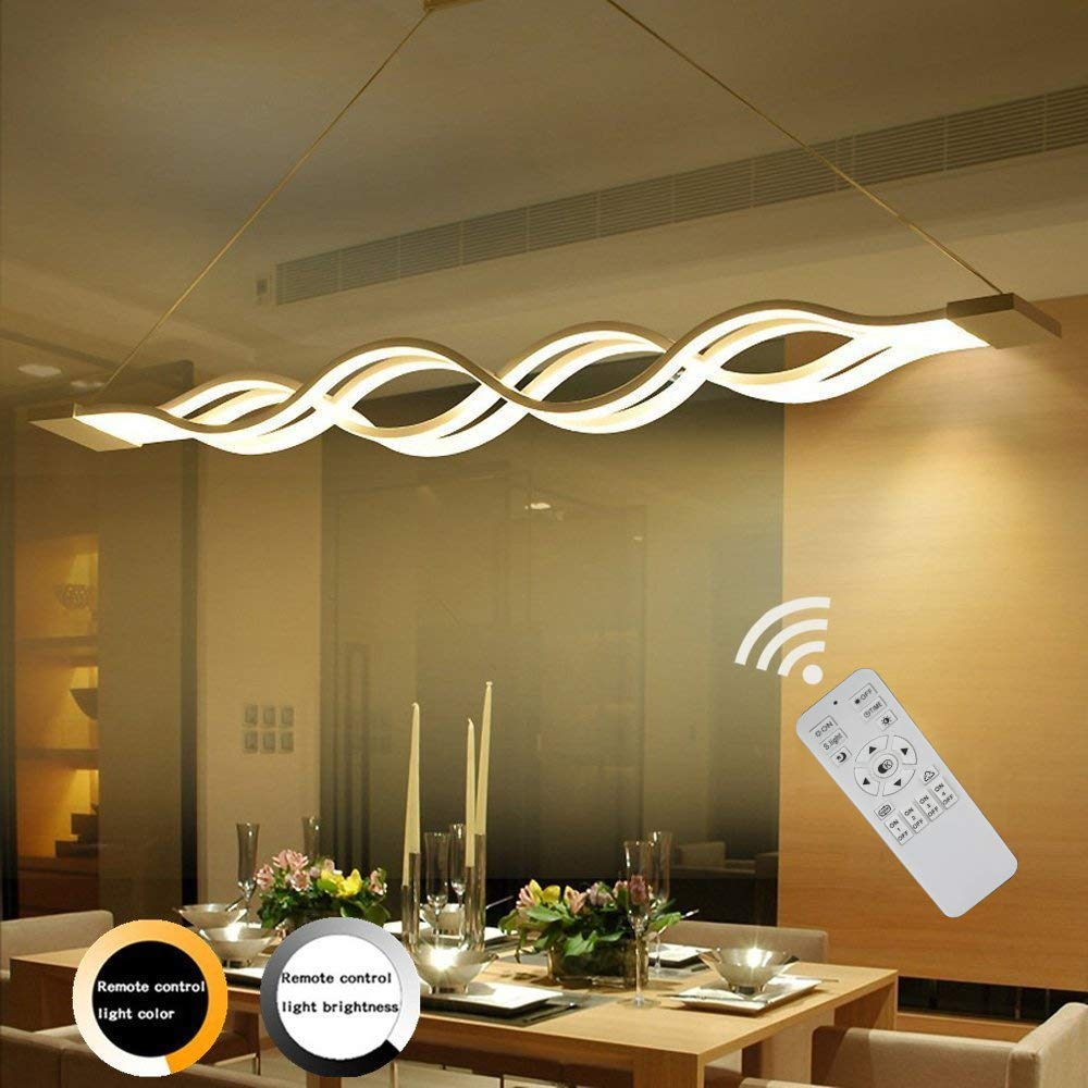 ZipLigting Modern Pendant Lighting Led Stepless Dimmable Transitional Chandelier Acrylic Dimming Ceiling Lamp Minimalist Wave Hanging Light Contemporary Living Dining Room Kitchen Island with Remote