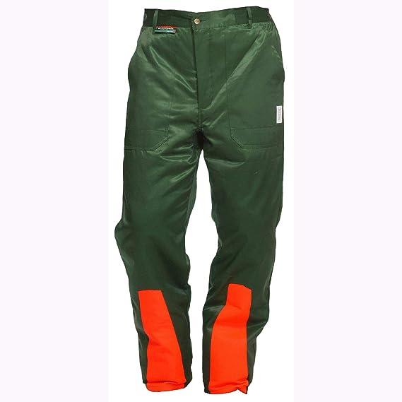 Pantalones anticorte Clase 1 Woodsafe®, probado por Kwf, peto verde/naranja, para hombre, pantalón con protección anticorte para trabajos forestales, forma A, peso ligero, cubrepantalón verde 48