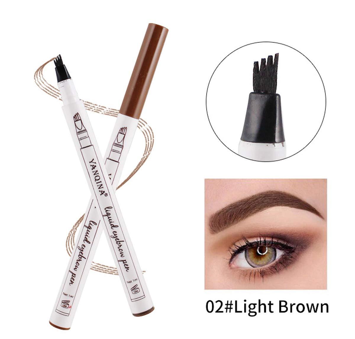 Liquid Tattoo Augenbrauenstift, ASKSA 4 Spitzenpinsel 3D Augenbrauenstift für Augenbrauen Make-up, Wasserdicht, Wischfest (Dunkelbraun) YANQINA