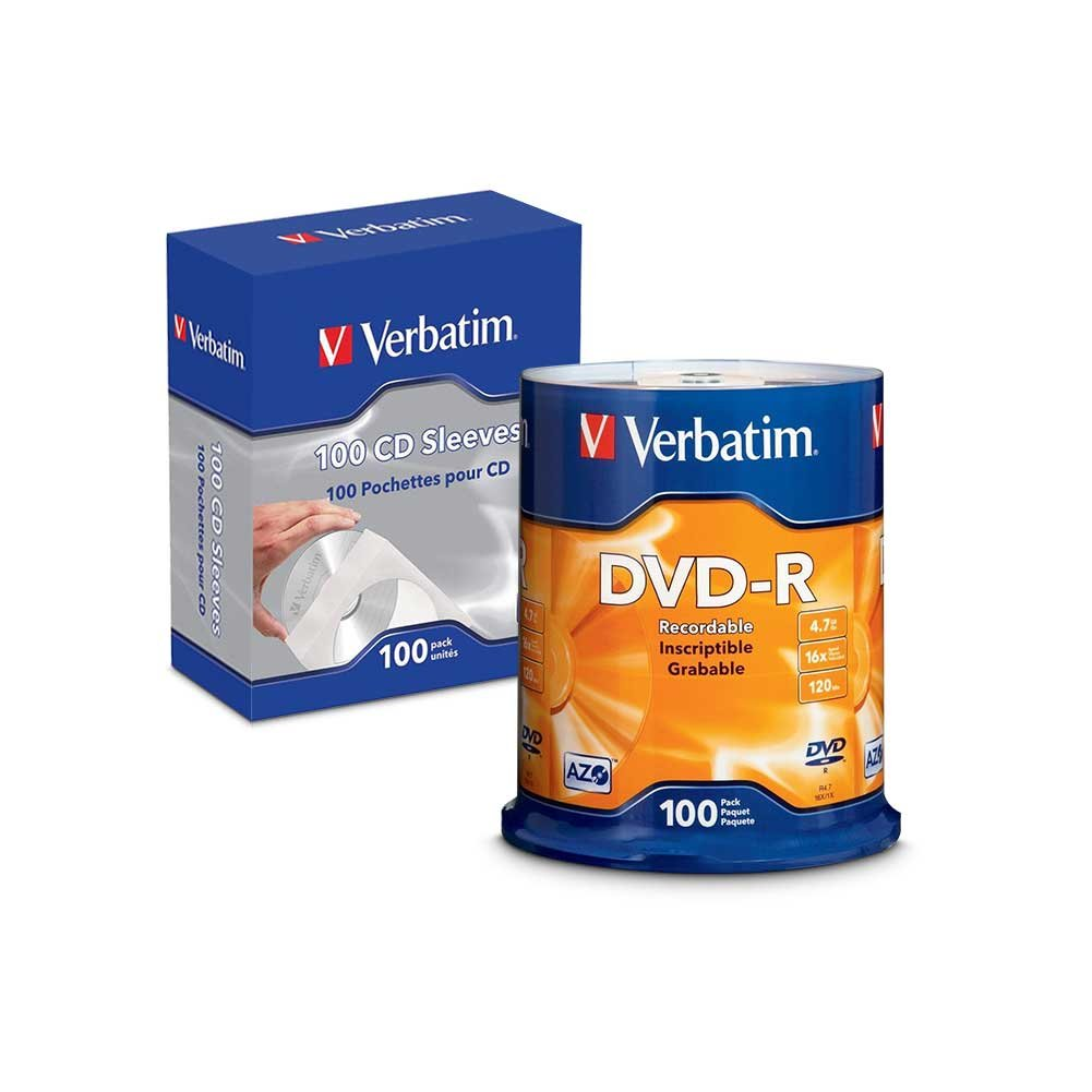 Verbatim CD/DVD Paper Sleeves-with clear window 100pk w/ DVD-R 4.7GB 16X 100pk Spindle