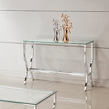 Beautiful Coaster Glass Top Console Table In Chrome