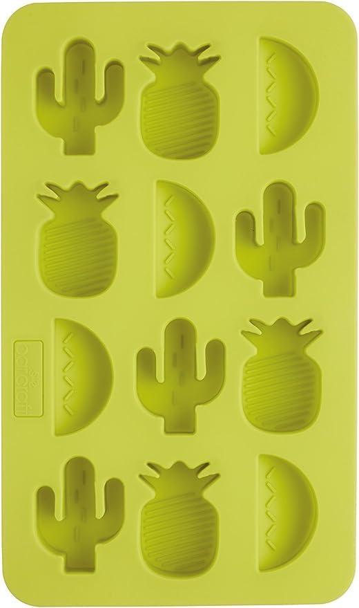 Bar Craft Tropical Chic - Diseño Ice Cube bandeja, 22 x 13 cm, 8.5 x 5 pulgadas, Silicona, Verde, 13 x 22 x 2 cm