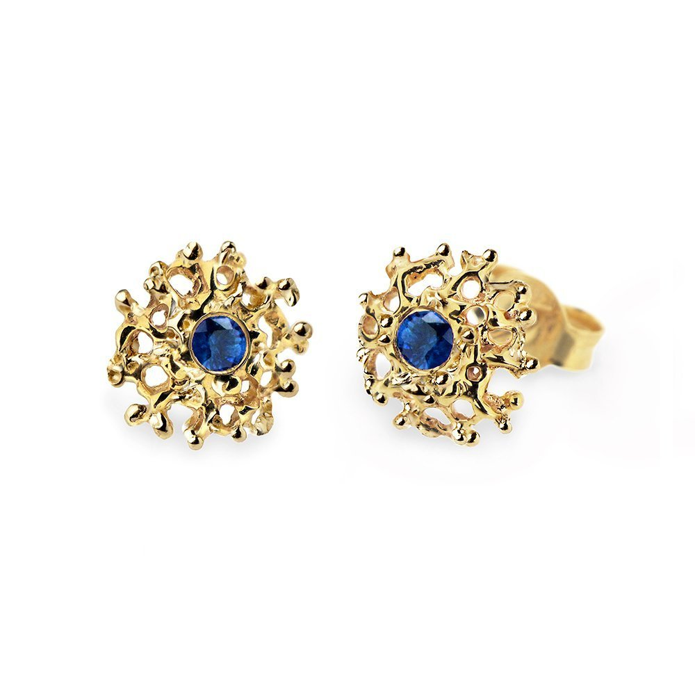 14k Yellow Gold High Quality Natural Coral Stud 14k Yellow Gold Stud Earrings for Women
