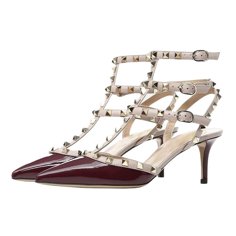 Lutalica Femmes Sexy Pointu Toe Stiletto Clouté Strappy Haut Talon Parti Sandales Chaussures Mat Nu Taille 45 EU PNDKukyt