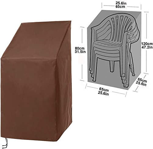 Stackable Patio Home Chair Cover,Durable Waterproof Dustproof Furniture Cover with Adjustable Hem Cord for Easy Fitting,Large Outdoor Stacking Chairs Cover 25 L x 25 W x 47 H CYFC666 Brown