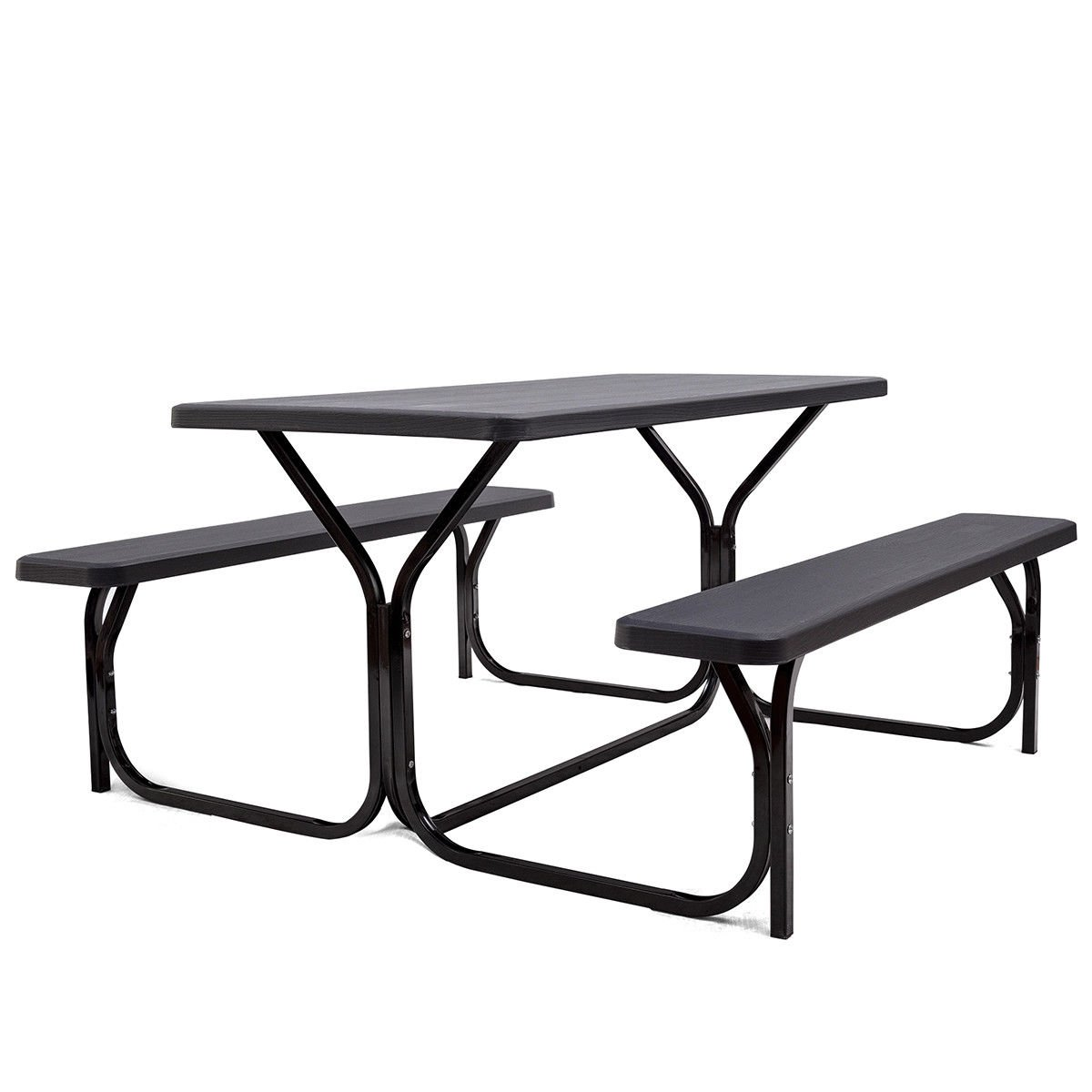 KCHEX>>>Picnic Table Bench Set Outdoor Backyard Patio Garden Party Dining All Weather>This table top and benches are made of high-density polyethylene, eco-friendly, durable and tough, perfect for out by COLIBROX