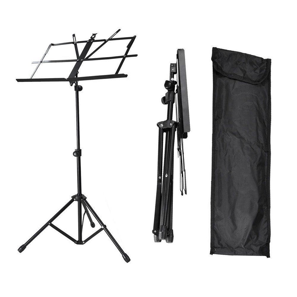 SaveOnMany Tripod Folding Guitar Stand with Security Strap - Holder Rack for Acoustic/Electric/Classical Guitar,Bass - Collapsible, Foldable, Black (Ultimated Version)