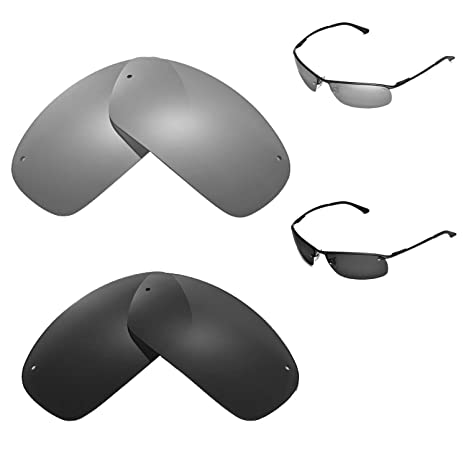 06f80b9c80 Amazon.com  Walleva Polarized Titanium + Black Replacement Lenses for Ray- Ban RB3183 63mm  Sports   Outdoors