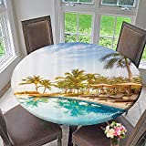 Mikihome Round Table Tablecloth Aerial of in Health Resort Spa Hotel with Exotic Elements Sports Moder 63''-67'' Round (Elastic Edge)