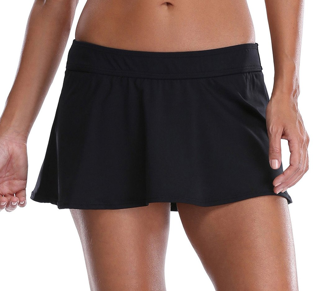 ATTRACO Women's Solid Black Skirted Bikini Bottom Swim Skirt Swimdress