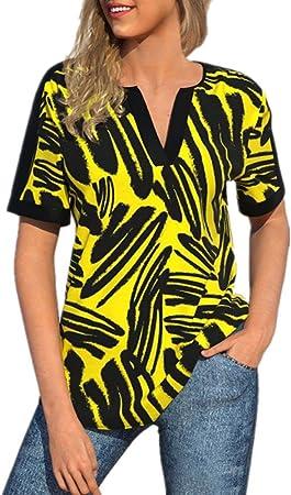 RIQWOUQT Cuello V Manga Corta Mujer Camiseta Amarilla ...