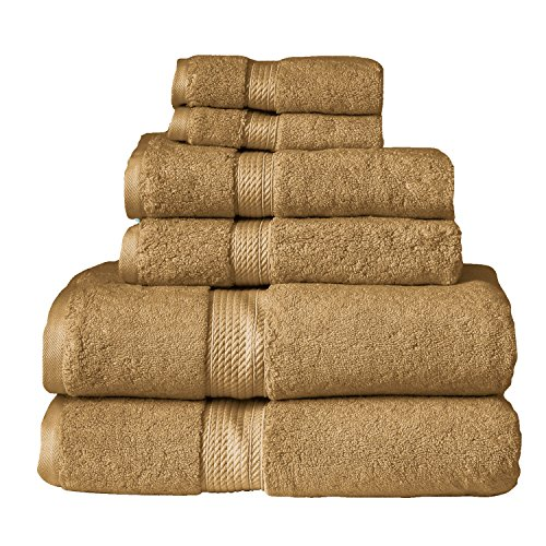 Blue Nile Mills 6-Piece Towel Set, Premium Long-Staple Cotton, 900 GSM, Toast