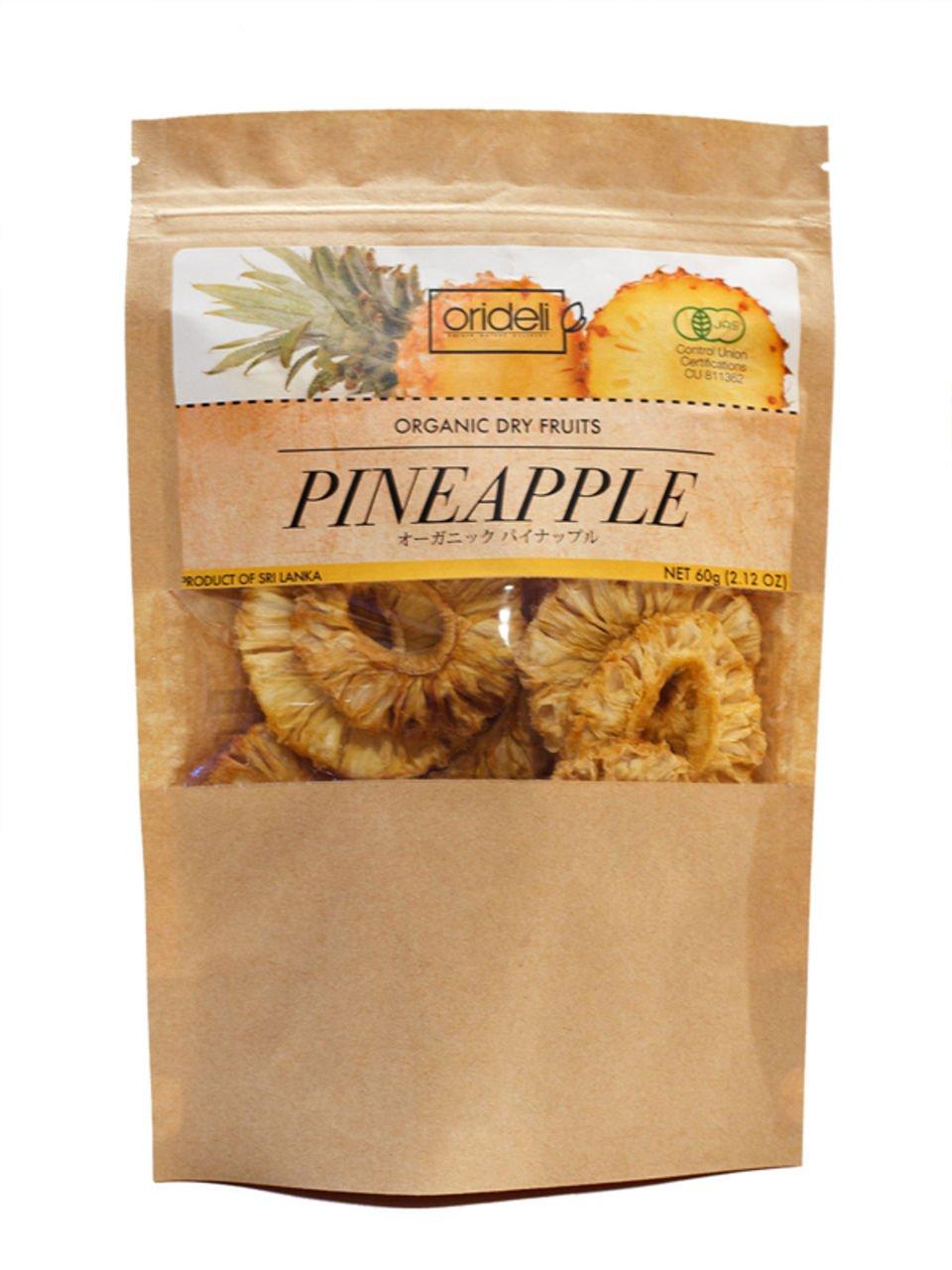 Amazon com : Orideli organic dried fruit (pineapple) 60g