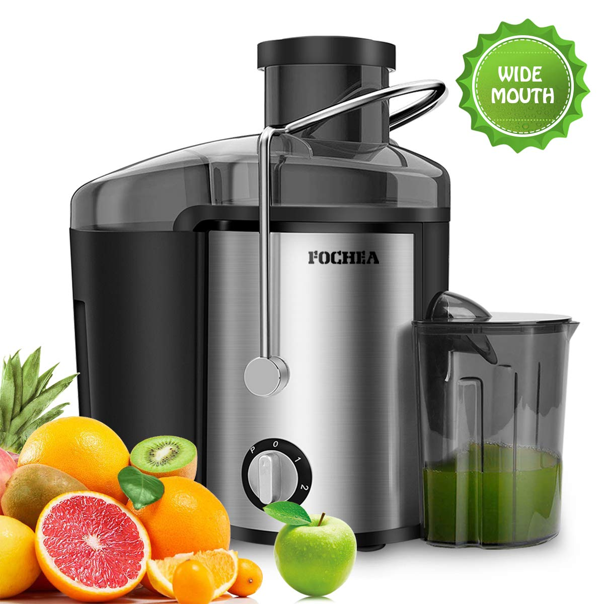 Juicer Wide Mouth Juice Extractor,FOCHEA Juicer Machine,3 Speed Centrifugal Juice For Fruits & Vegetable with Anti-drip Function,Stainless Steel and BPA Free,Easy To Clean