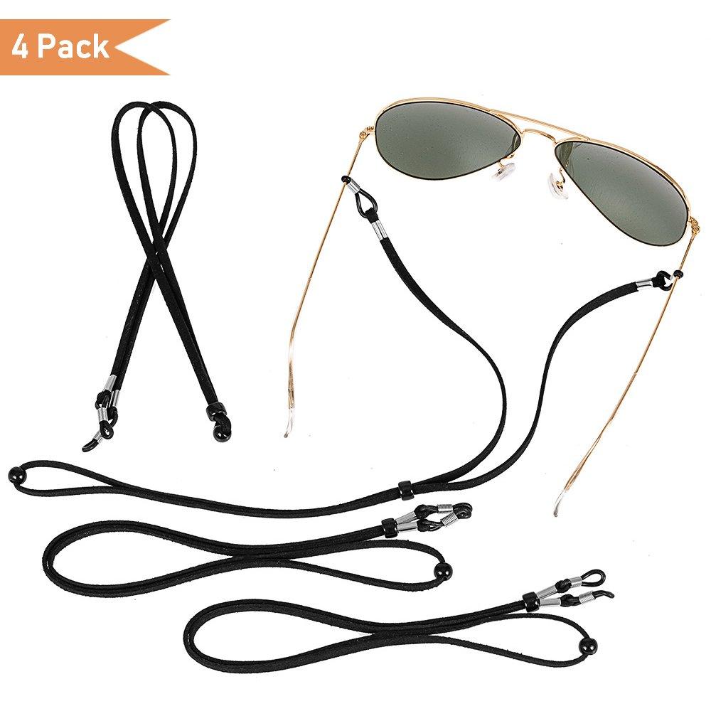 Adjustable Eyeglass Chain, Universal Fit Eyeglass Strap, Unisex Eyewear Retainer, Eyeglasses Neck Cord String, Black, 4pack