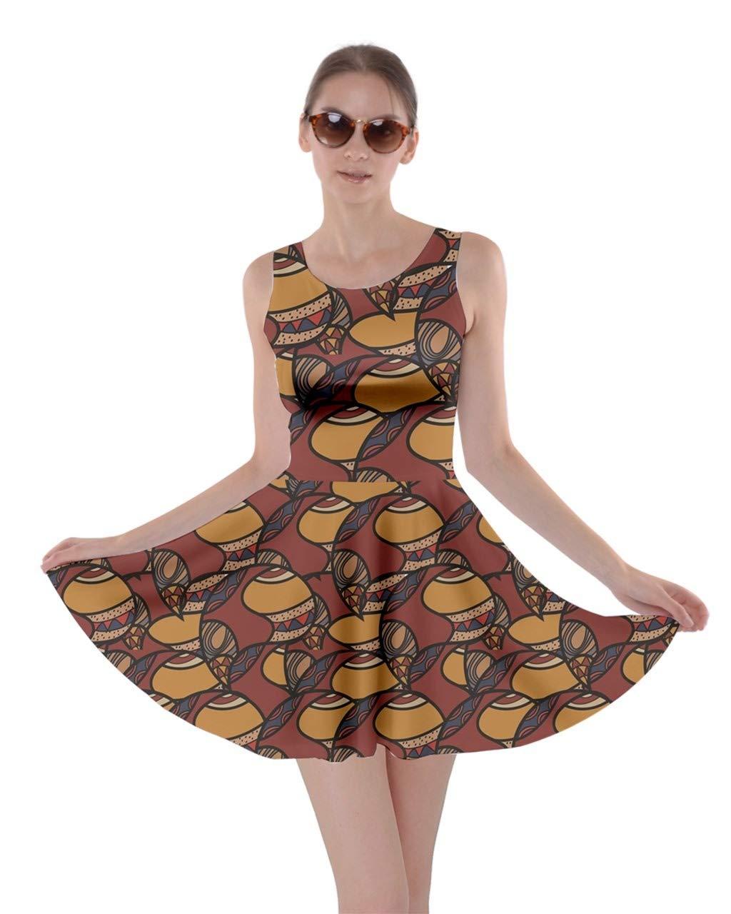 CowCow Womens Brown African Ethnic Rasta Dashiki Colorful Pattern Skater Dress, XS-5XL