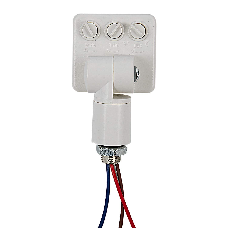 Semoic Haute qualite automatique PIR 85-265V securite PIR capteur de mouvement infrarouge detecteur murale LED lumiere exterieure 160 degres 10M Blanc