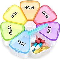 ZUMLLOMA Pillendoos voor 7 dagen, BPA-vrij, 7 vakken, gemakkelijk te openen medicijndoseerder, handige wekelijkse…