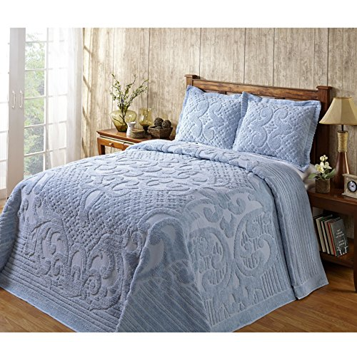 1 Piece Blue Oversized Chenille Bedspread Queen, Coastal Solid Color Medallion Pattern Extra Long Wide Drapes Over Edge Drops Down To The Floor Oversize Bedding Flower Shabby Chic Warm Cozy, Cotton (Chenille Medallion)