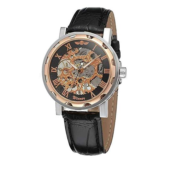 Reloj pulsera GuTe mecánico automático unisex, steampunk, pulsera negra, diseño esqueleto, color oro rosa: Amazon.es: Relojes