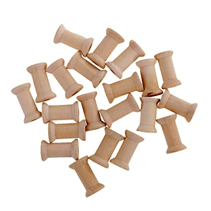 Sharplace 20 Pieces Vintage Natural Wooden Classic Bobbin Empty Thread Spools DIY Coils fit Sewing Craft/&Floss 27x16mm