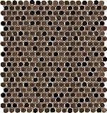 Emser Tile ''Confetti'' Penny Round Mosaics on Mesh, 12'' x 12'', Bronze