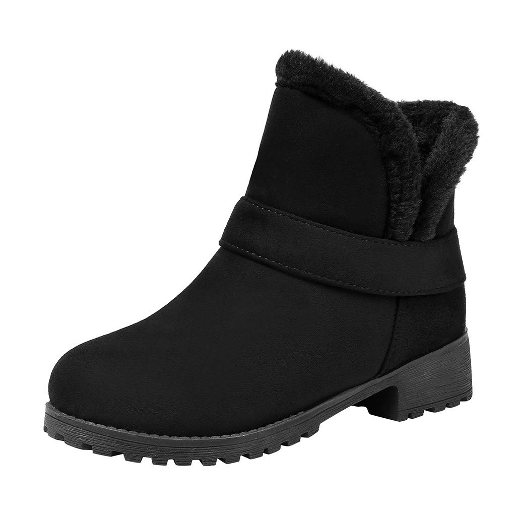 Fheaven Women Winter Snow Boots Warm Flat Fur Lined Anti-Slip Riding Boots Black by Fheaven-shoes