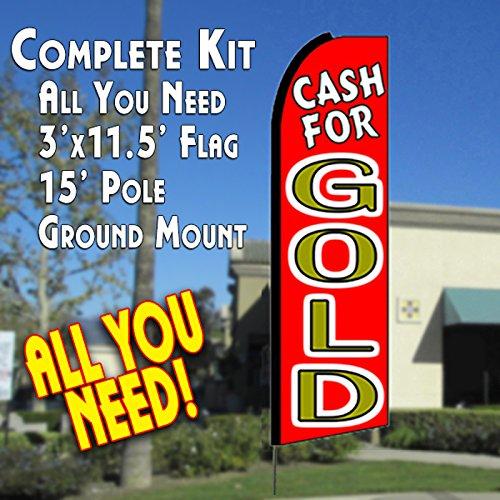 CASH FOR GOLD (Red) Flutter Feather Banner Flag Kit (Flag, Pole, & Ground Mt)