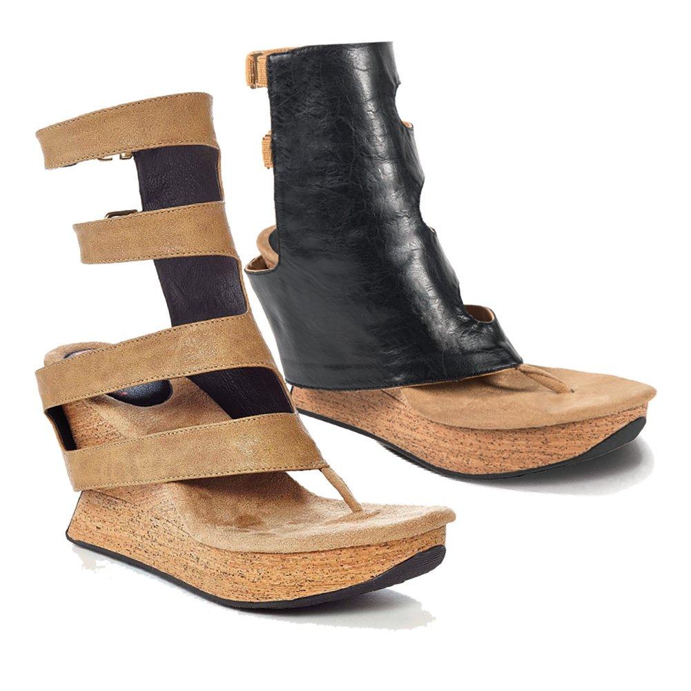 Modzori Women's Vita Reversible Wedge Sandal B07DLGH6JP 9 B(M) US Beige/Black