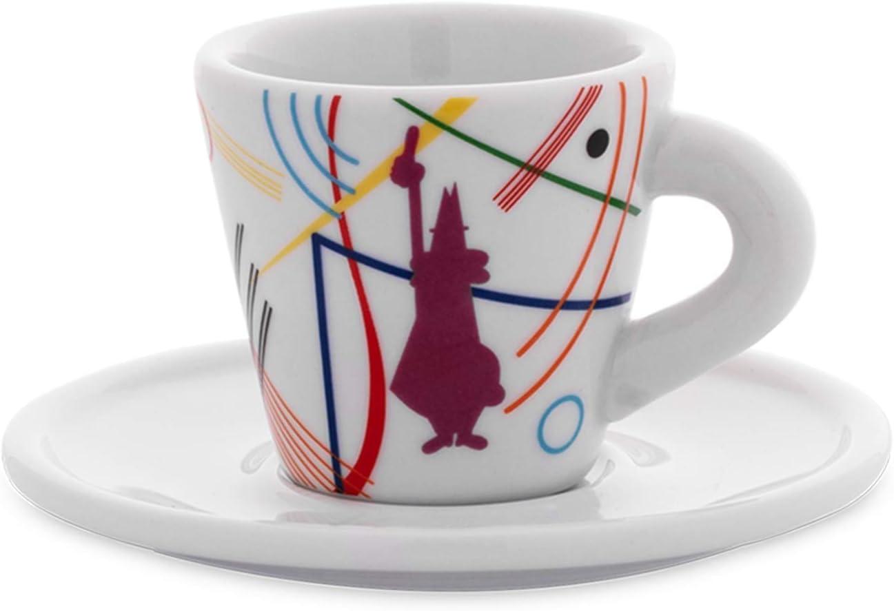 Porcellana con Piattini Bialetti Y0TZ030 Set 2 Tazzine Espresso Arte
