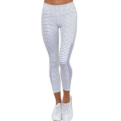 Amazon.com : Elogoog Hot! Women Stretchy Striped Sports Yoga ...