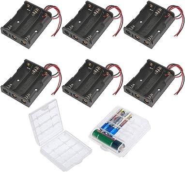 GTIWUNG 3 x 1,5V AA Caja de Soporte de Batería Caja de Almacenamiento de Batería de Plástico (3 Solts × 6 Piezas): Amazon.es: Bricolaje y herramientas