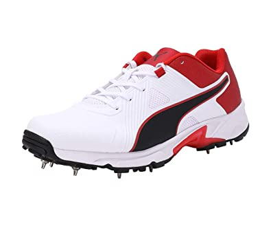 Puma Spike 19.1 Cricket Shoes White Black Red