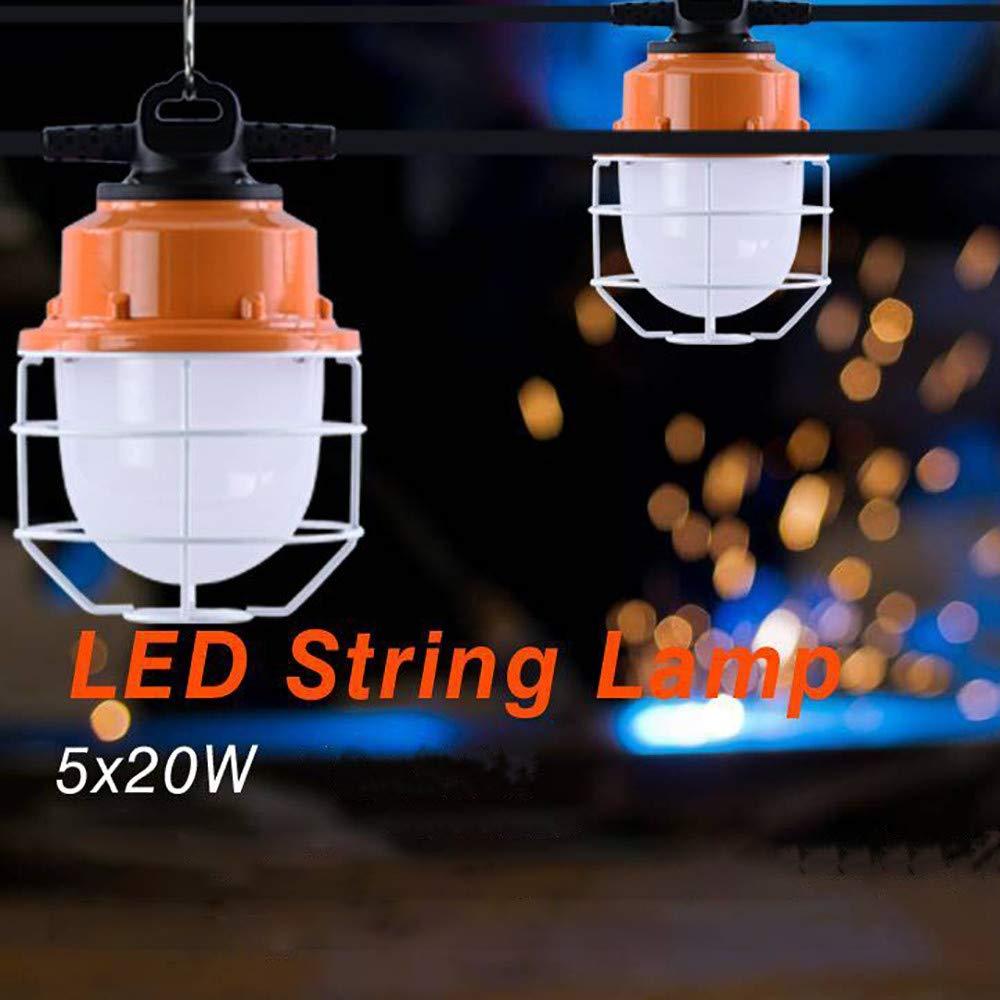 Sonmer 100W 5LED Temporary Construction Hanging Work String Lamp, Fixture 5700K Daylight 10400Lm by Sonmer (Image #1)