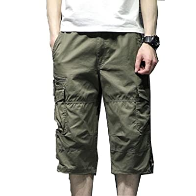 ARTFFEL Mens Casual Summer Mid Rise Camouflage Multi Pockets Cotton Cargo Shorts No Belt