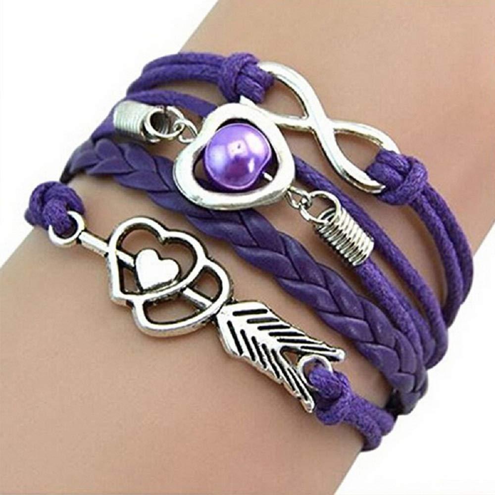 MJartoria Fashionable and Retro Cupid's Arrow Love Pearl Multi-Colored Leather Rope Bracelet