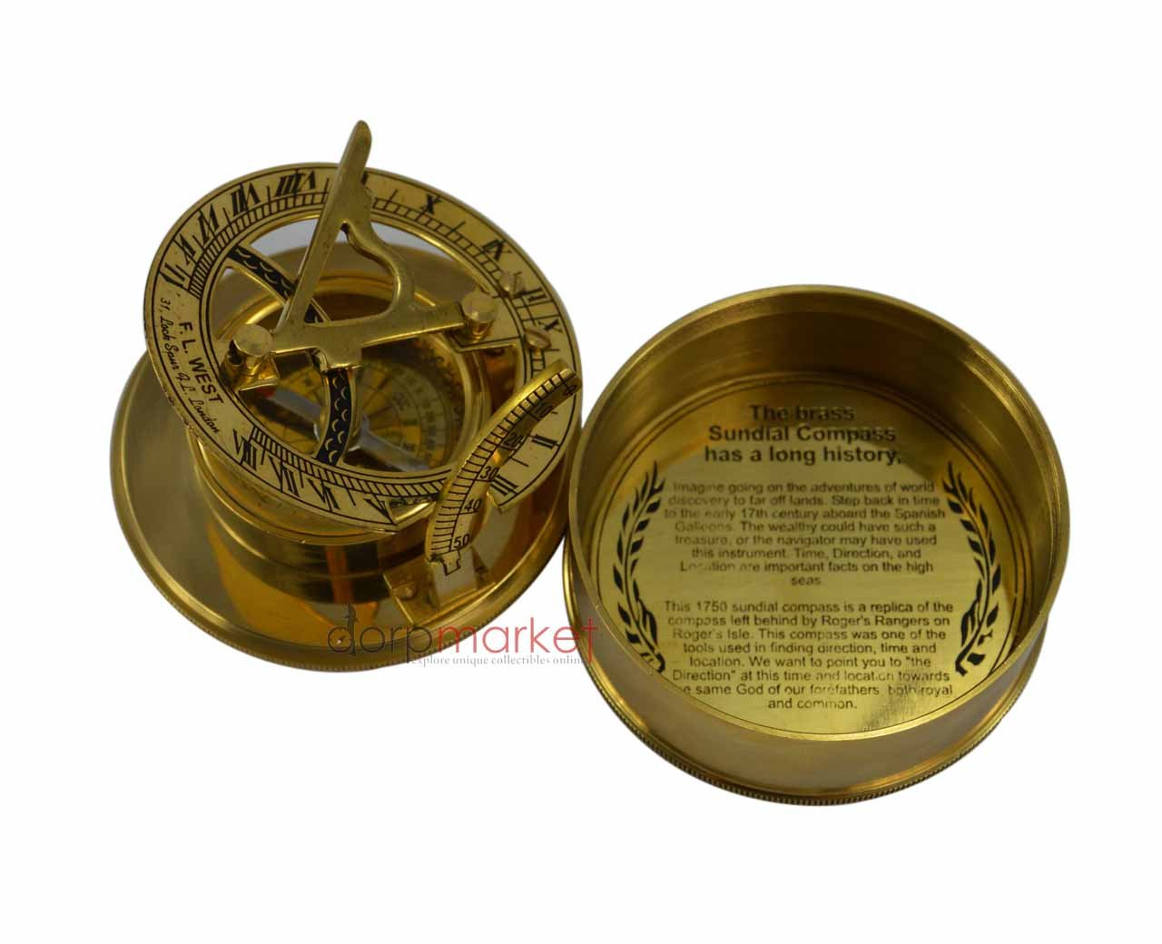 Dorpmarket Handmade Box Sundial Compass with Latitude Adjustment Natural Sine Anchor Symblol Compass