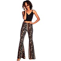 SWEETKIE Boho Flare Pants, Elastic Waist, Wide Leg Pants for Women, Solid & Printed, Stretchy and Soft