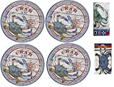 Blue Crab Melamine 4 Piece Dinner Plate Set with 20 Piece Buffet Paper Napkins and pack of 4 Disposable Plastic Bibs